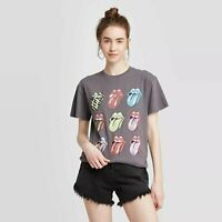 The Rolling Stones M T-Shirt Womens Gray Boyfriend Graphic Short Sleeve Top