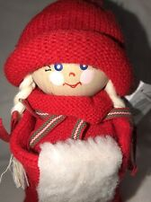 Genuine Handmade Collectable Tranemo Santa Girl w/Muff Larssons Trä Sweden