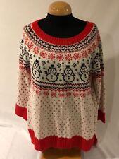Junior Women's Crystal-Kobe Ugly Christmas Sweater Snowmen Size XL