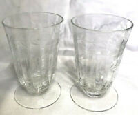 vintage Crystal Ribbed & Etched Floral Wheat Cordial Glasses
