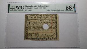 1780 $20 Massachusetts MA Colonial Currency Note Bill AU58 PMG Loammi Baldwin