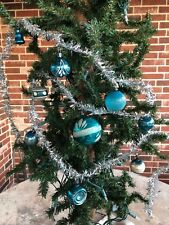Vintage Silver Wired Tinsel,Asstd Blue Mercury Glass Ornaments Christmas Garland
