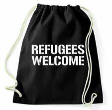 #2 Refugees Welcome Bolsa de Gimnasio Deporte Mochila Ningún Hombre Es Ilegal