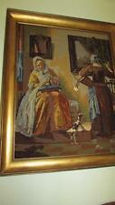 BEAUTIFUL VINTAGE LARGE NEEDLEPOINT PICTURE ART GALLERY LABEL