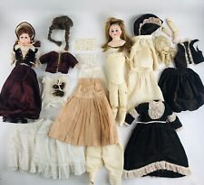 "Lot 2 Antique German French Dolls Porcelain Bisque 16"" Glass Eyes Teeth Victoria"