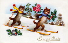 Vntg French New Year~Skiing Kitty Cats Scarves~Roses~Horseshoe~N ew Lg Note Cards