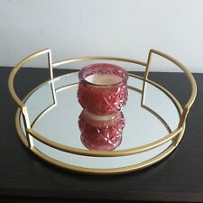 Round Gold Mirror Candle Plate Wedding Table Decorative Mirror Candle Tray New