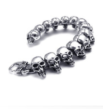 Men Biker Gothic Stainless Steel Heavy Skull Head Silver Bracelet Bangle Link