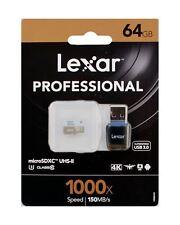 Lexar 64GB Professional 1000x, 150MB/s microSDXC UHS-II U3 Card + USB 3.0 Reader