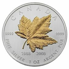 2008 Canada 20th Anniversary Gold Plated 1 oz .9999 Silver Maple Leaf COA & Box