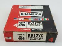 Lot Of 4 Champion 406 RV12YC Spark Plugs Copper Plus Resistor