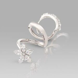 Diamond Toe Ring In 14K White Gold Plated 925 Sterling Silver And Cubic Zirconi