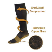 20-30mmHg  Mens Womens Black Copper Infused Compression Socks GraduatedS-XL
