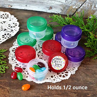 12 Clear Jars Purple Green Red Caps Small Plastic Containers 1Tbl .5 oz 3803 USA