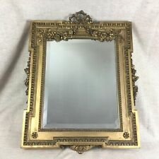 Antique Neoclassical Carved Gilt Wood Wall Glass Mirror Gold Ornate Regency