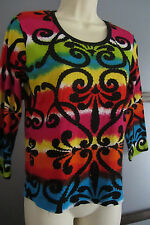 Multiples Shirt Top Blouse Sz Petite Small Funky Print Sequin Bead Detail NWOT