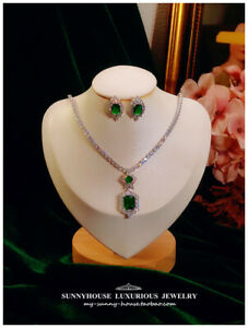 Fashion Green Clear Crystal Wedding Set Necklace + Earrings for Banquet