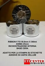 RIBBON NASTRI CARBONGRAFICI 50X360 IN WAX CERA PREMIUM INTERMEC ZEBRA TSC