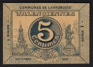 1915 5 Centimes Valenciennes France Emergency Paper Money Banknote Currency XF