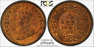 1921(c) India British 1/12 Anna PCGS MS64RB TrueView Toned ONLY 5 GRADED HIGHER