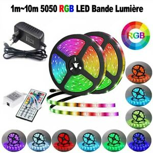 1M~10M LED Bande Lumière LED Strip Light Flexible 5050 RGB Ruban Kit Complet