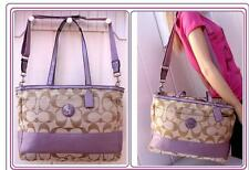 COACH KHAKI LILAC diaper baby shoulder bag handbag satchel tote strap  F17443