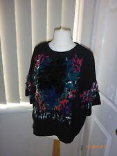 H&M embellished sequin black top size 12 Eur 40
