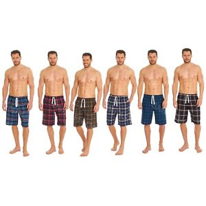 Mens Lounge Shorts Bottom Pjs Yarn Dyed Checked Woven Lounge Wear Pyjama Shorts