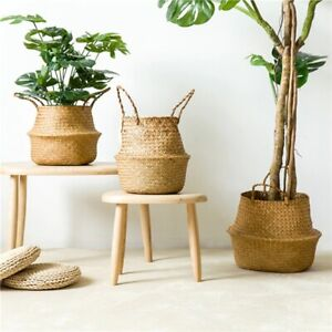 Handmade Bamboo Storage Baskets Foldable Laundry Straw Patchwork Wicker Bin