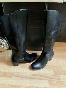 ECCO WOMENS BLACK LEATHER CALF LENGTH BLOCK HEEL BOOTS SIZE UK 2.5 EU 35 #T