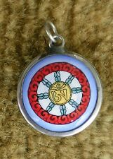 Round Tibetan Enamel Metal Pendant Painted Tibetan Om Mani Wheel BLUE