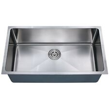 """Z105 - 30"""" x 16"""" Single Bowl Stainless Steel Zero Radius Style R20 Kitchen Sink"""