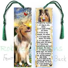 Collie Large Bookmark w/tassel Rough Coat Sable Dog Rules Property Law Book Card