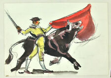 1950s-60s Book 24 Bullfight Watercolor Paintings T. Scott Offutt Jr. Baltimore