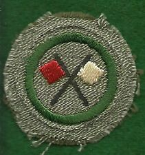 VINTAGE GIRL SCOUT BADGE - SILVER GREEN - SIGNALER - VERY SCARCE