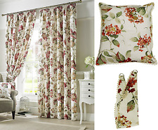 TRADITIONAL CARNABY CHINTZ FLORAL PRINT NATURAL TAPE TOP FULLY LINED CURTAINS