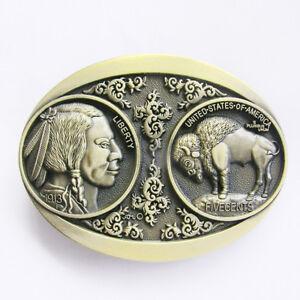 Western Cowboy/Cowgirl Rodeo Decor Engraved Antique Brass Buffalo Nickel Buckle