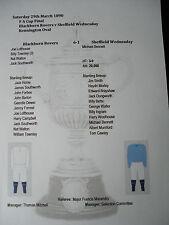 1889-90 FA Cup Final Blackburn Rovers v Sheffield Wednesday Matchsheet