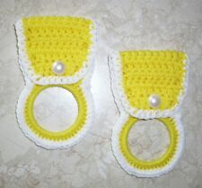 TOWEL HOLDERS, Crochet, BRIGHT YELLOW & WHITE, White Pearl Buttons, SET OF 2 New