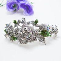 Silve Rhinestone Crystal Silver Tone Metal flower hair claws clips Barrette 2786