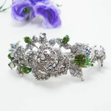 Silve Rhinestone Crystal Silver Tone Metal flower hair claws clips Barrette 2786