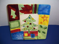 """Corsica Holiday Quilt Square Christmas Dinner Plate (10 ¼"""") Retired Pattern NWT"""