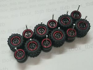 REAL RIDERS WHEELS RUBBER TIRES 4 SPOKE OFF-ROAD DONUTS 6 SETS 1/64 HOT WHEELS