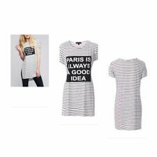 Hip Length Crew Neck Striped Plus Size T-Shirts for Women