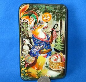Lacquer box Russian hand painted Shell Fairy Tale KOLOBOK Fox Rabbit Zemina GIFT