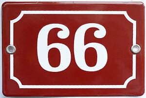 Brown French house number 66 99 door gate plate plaque enamel steel metal sign