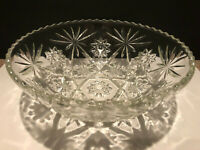"""Vintage Anchor Hocking Pressed Glass Star and Fan Pattern Salad Bowl 10"""""""