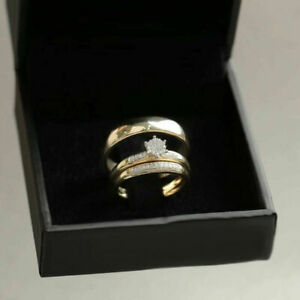 2.20 Ct Round Cut Diamond His And Her Trio Wedding Ring Set 14k Yellow Gold Over