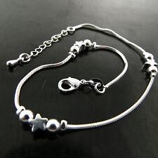 S/F Star Bead Design Xl Bracelet Anklet New listing Fsa772 Genuine Real 925 Sterling Silver
