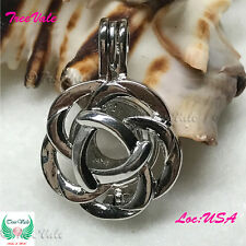 Silver Pearl Cage Pendant - Blooming Flower Fun Gift!!